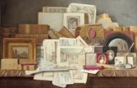 Art and Letters: Still-life of books, paintings, prints and other objects