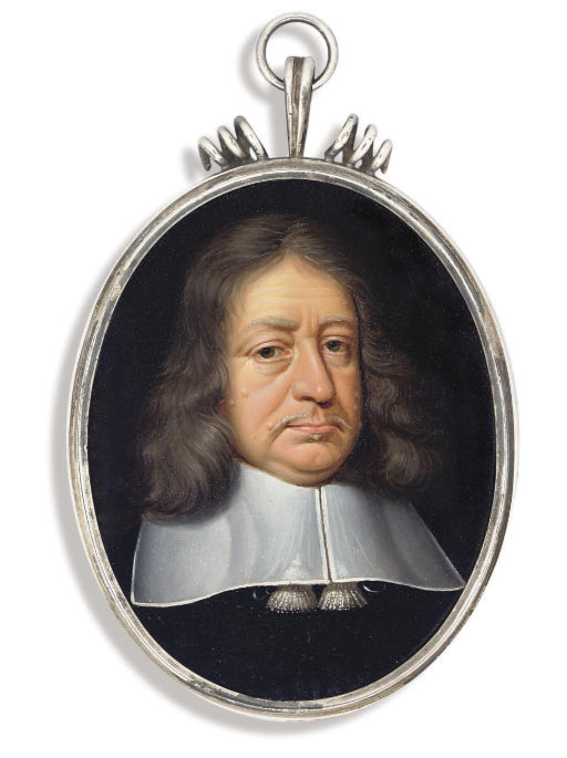 A gentleman, in black cloak, white lawn collar with tassels, moustache and long greying hair