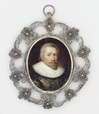 A gentleman, in silver-embroidered grey doublet, white lace ruff, moustache and small pointed beard