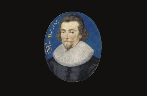 A gentleman, in black doublet, white lace ruff, curling brown hair, sideburns, moustache and pointed beard; blue background