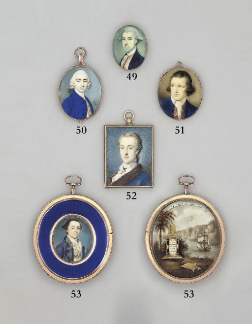 Lord Charles Douglas, in fur-bordered blue cloak, white shirt, white lace cravat, gem-set pendant worn at neck