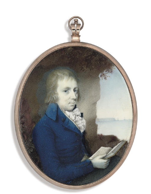 Thomas Sinclair of Abbeyville, in blue coat, white waistcoat, white frilled cravat, holding an open book in his right hand; cliffs and seascape background