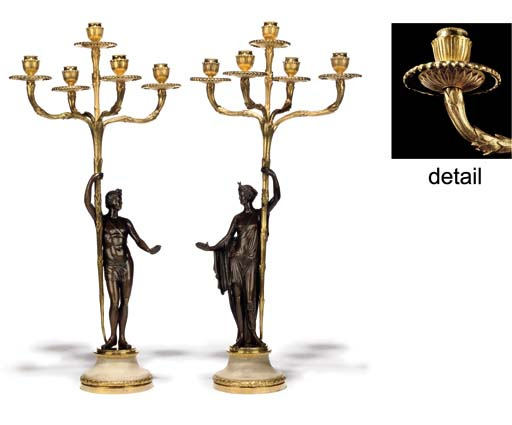 A PAIR OF GEORGE III ORMOLU, BRONZE AND MARBLE FIVE-LIGHT CANDELABRA