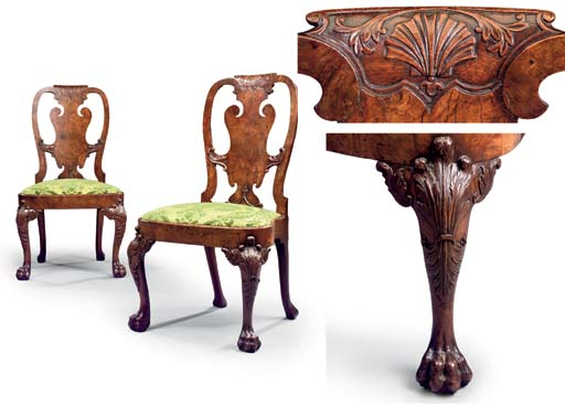 A PAIR OF GEORGE II WALNUT SIDE CHAIRS