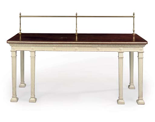 A MAHOGANY AND WHITE-PAINTED SERVING-TABLE
