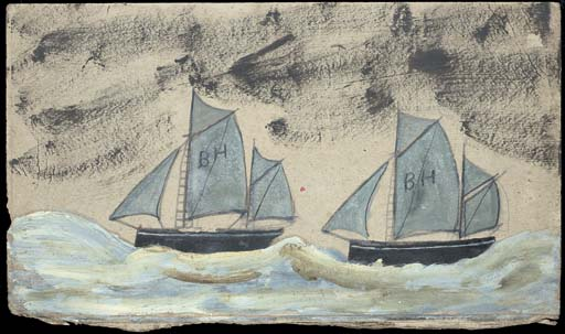 Two sailboats with 'BH' on the sails