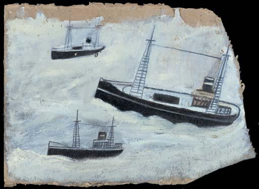 Three fishing boats on the sea