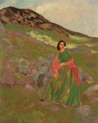 Dorelia in a green dress and a red scarf on a hillside