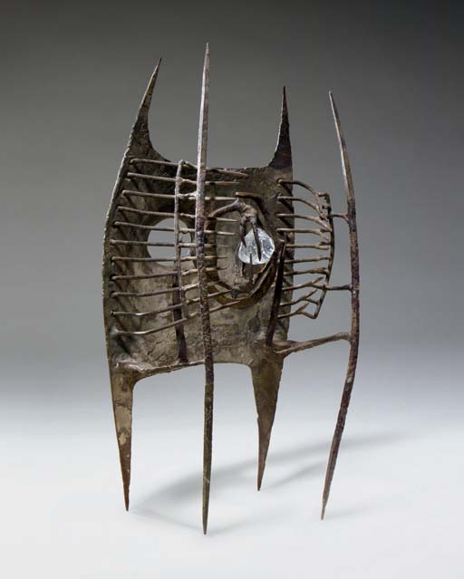 Lynn Chadwick, R.A. (1914-2003), Maquette IV Inner Eye. Iron and glass. 15½ in (39.4 cm) high. Sold for £322,400 on 8 June 2007 at Christie's in London.© Lynn Chadwick  Bridgeman Images