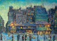 Paris, rue animée le soir