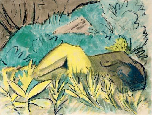 Liegender Mädchenakt am Waldrand