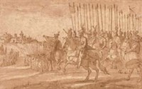 A general commanding a squadron of cavalry in the siege of a hill town
