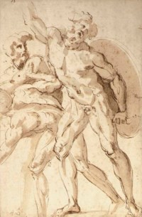 A nude warrior with a shield reaching up to the left, two crouching nudes to the left