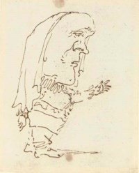 Caricature of a man pointing with his left arm