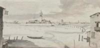 The Venetian Lagoon in winter looking towards the Isola Sant' Elena