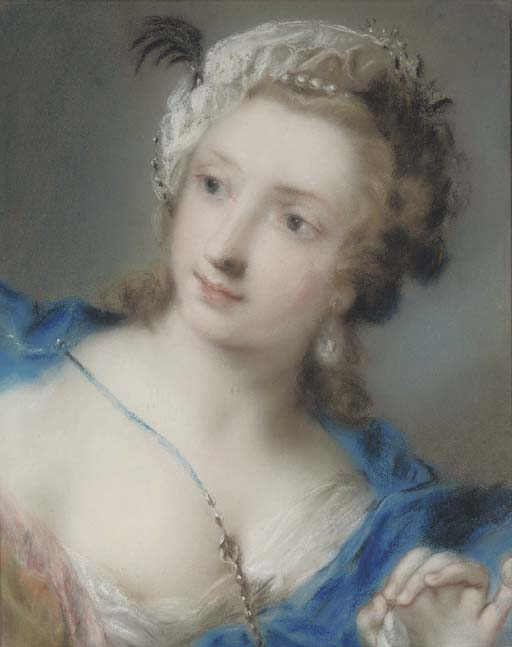 Portrait of a girl looking to the left, bust-length, wearing a blue mantle