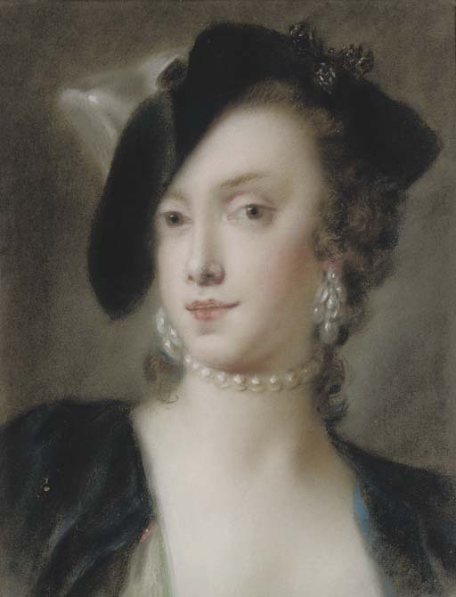 Portrait of Caterina Sagredo Barbarigo, bust-length, wearing a black tricorn hat