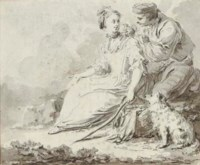 A shepherdess with a bird seller and a dog