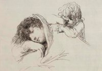 A sleeping woman, half-length, an infant leaning on her shoulder