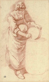 A maid with a butterchurn