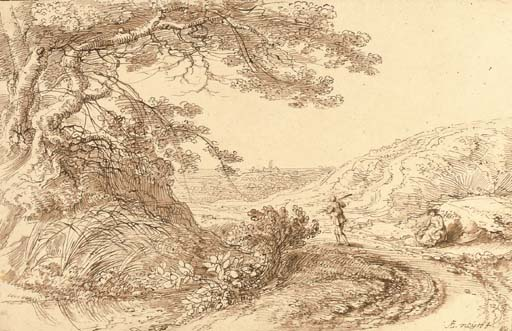 A landscape with a large tree overhanging a track, a traveller and a seated woman to the right