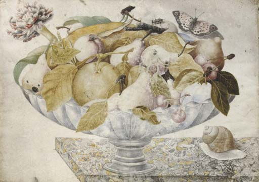 Still life with plums, pears, oranges, carnations and butterflies, in a footed bowl on a marble ledge