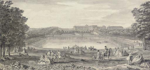 Vue du château de Versailles du côté de l'Orangerie, prise au delà de la grande pièce d'eau des Suisses