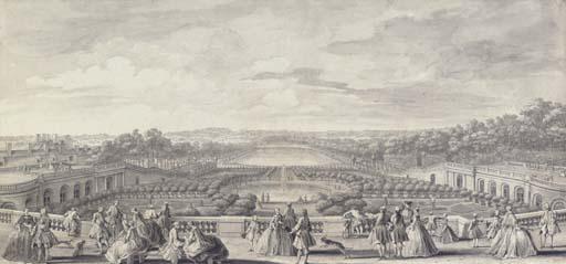 Vue de L'Orangerie de Versailles, prise de la balustrade au bord de la terrasse du château