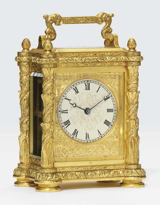 A Victorian gilt-brass eight day timepiece carriage clock
