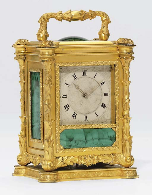 A Victorian gilt-metal and malachite-mounted eight day timepiece carriage clock