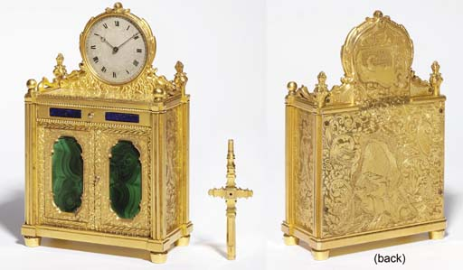 A Victorian engraved gilt-brass, malachite, lapis lazuli and glass-mounted eight day miniature chiffonier timepiece