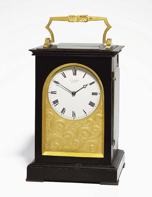 A Victorian ebonised and gilt-brass mounted striking and repeating eight day five-glass travel clock
