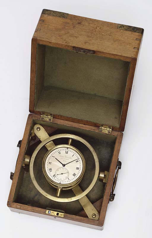 A George III mahogany and brass-mounted two-day marine chronometer
