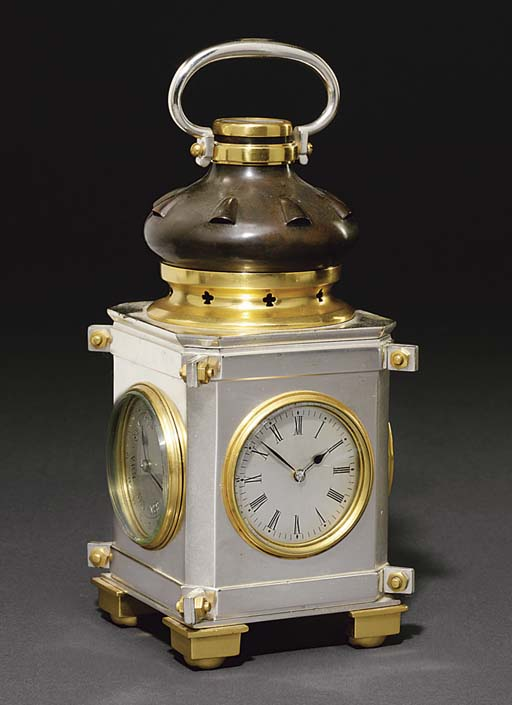 Lantern A French silvered, gilt and patinated brass eight day compendium timepiece with calendar, barometer, thermometer and compass