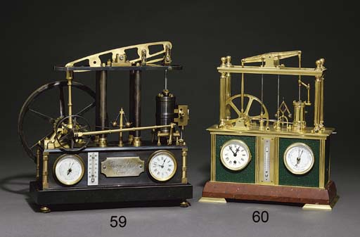 Four Column Beam Engine A French brass, patinated brass and granite eight day timepiece with barometer, thermometer and automomaton beam and wheels