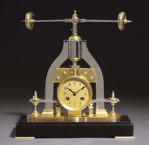 Fly Press A French brass and silvered brass and marmo nero Belgio eight day striking novelty clock with revolving bar-bell press