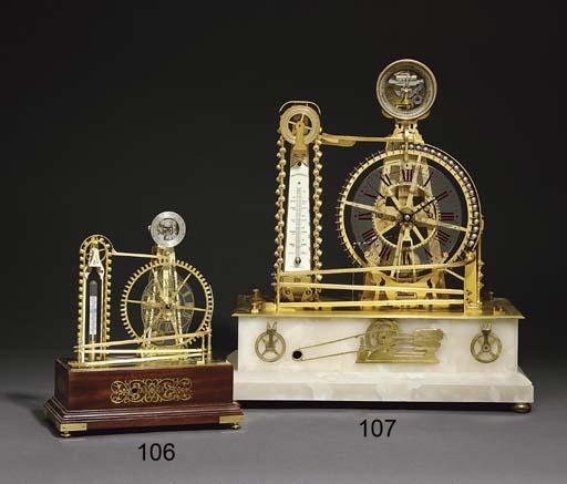 A miniature brass and mahogany