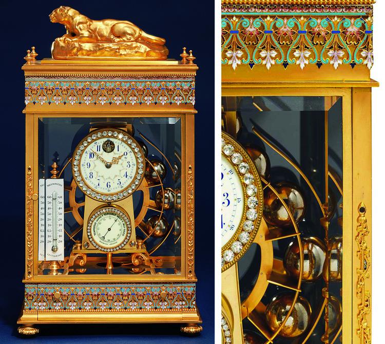 A rare French gilt-brass, cham
