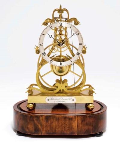 A Victorian brass eight day gr