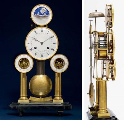 A Belgian brass, ormolu and bl
