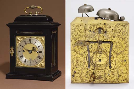 A William and Mary ebony and gilt-brass mounted striking eight day table clock with pull quarter repeat