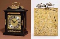 A Charles II ebony and gilt-brass mounted two-train quarter-striking eight day table clock