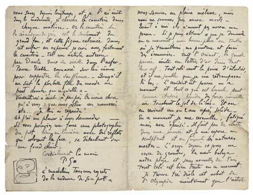 GAUGUIN, Eugene-Henri-Paul (1848-1903). Autograph letter signed ('P Go') to Emile Bernard ('Mon cher Bernard'), [Le Pouldu, June 1890], with ORIGINAL DRAWING in pen and pencil, 4 pages, 8vo (restored, some light dampstaining, short marginal tear touching text).