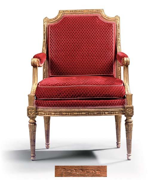 A LOUIS XVI GILTWOOD FAUTEUIL