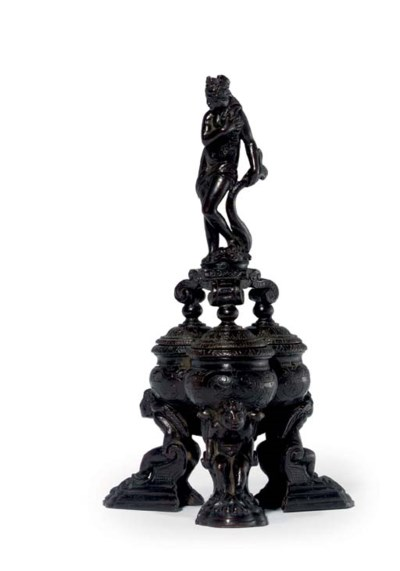 A BRONZE INKWELL