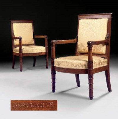 A PAIR OF EMPIRE MAHOGANY ARMC