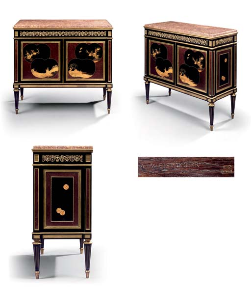 A LOUIS XVI ORMOLU-MOUNTED EBONY AND JAPANESE LACQUER COMMODE A VANTAUX