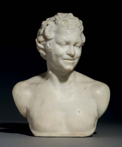 A CARVED MARBLE BUST OF A YOUN
