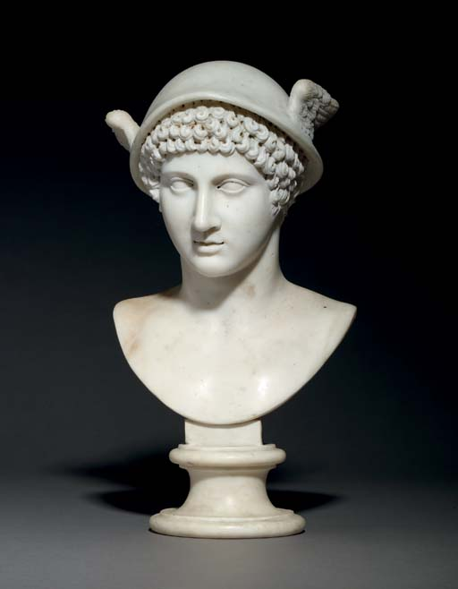 A CARVED MARBLE BUST OF MERCUR