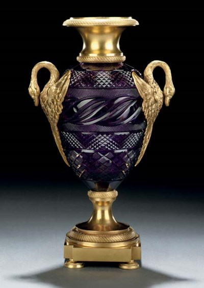 A RUSSIAN PURPLE CUT-GLASS AND